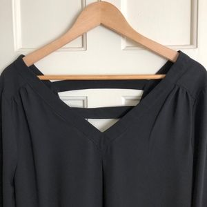 Black, Silky V-Neck with Criss-Cross Detailing